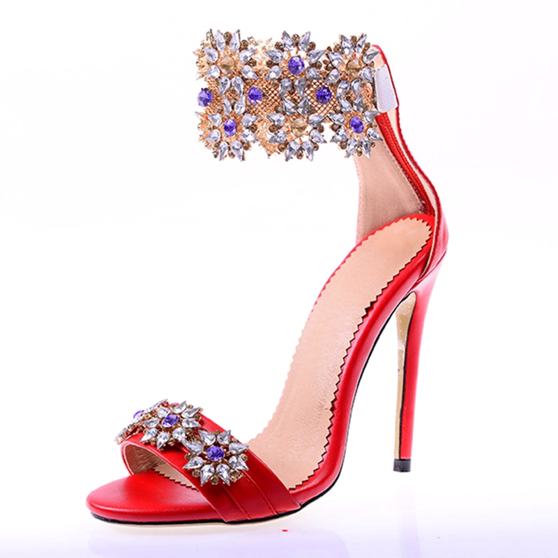 Ericdress Glittering Rhinestone Open Toe Stiletto Sandals