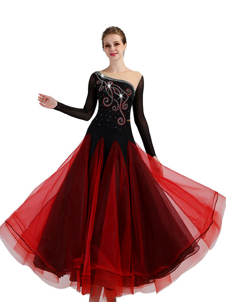 Milanoo Ballroom Dance Costume Burgundy Women Long Sleeve Organza Beading Training Dancing Dresses