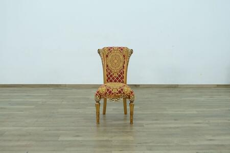 Maggiolini Collection Luxury Dining Side Chair with Red Gold Chair  in Antique Red Golden