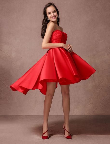 Milanoo Blue Prom Dress 2020 Short Satin Homecoming Dress Strapless Backless High Low Cocktail Dress