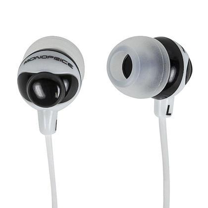 Écouteurs boutons d'isolation de bruit de conception de bouton - noir et blanc - Monoprice®
