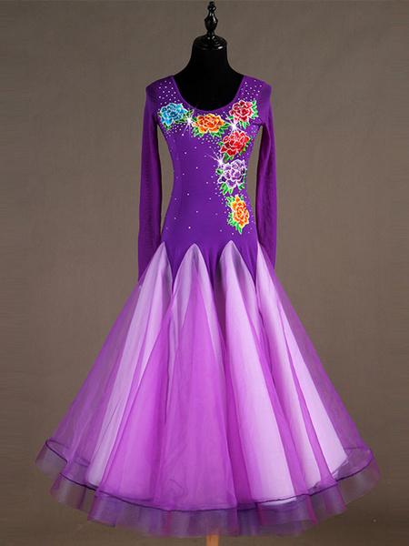 Milanoo Ballroom Dance Costume Long Sleeve Women Organza Beaded Floral Dresses Halloween
