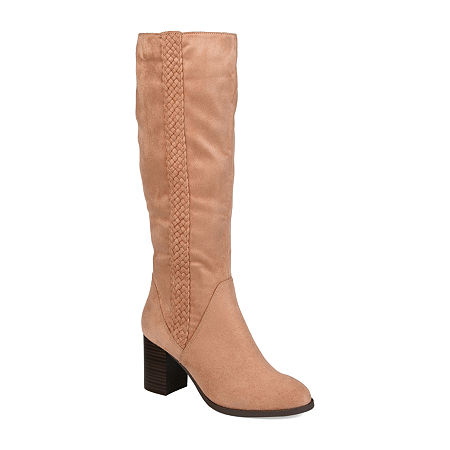 Journee Collection Womens Gentri Boots Stacked Heel Over the Knee, 6 Medium, Pink