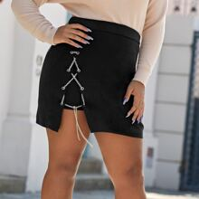 Plus Lace Up Chain Knit Skirt