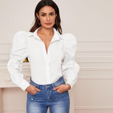 Gathered Sleeve Button Front Blouse