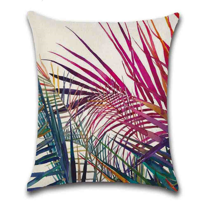 Reactive Printing Technics Indoor Occasion Plant Pattern Pillow Case