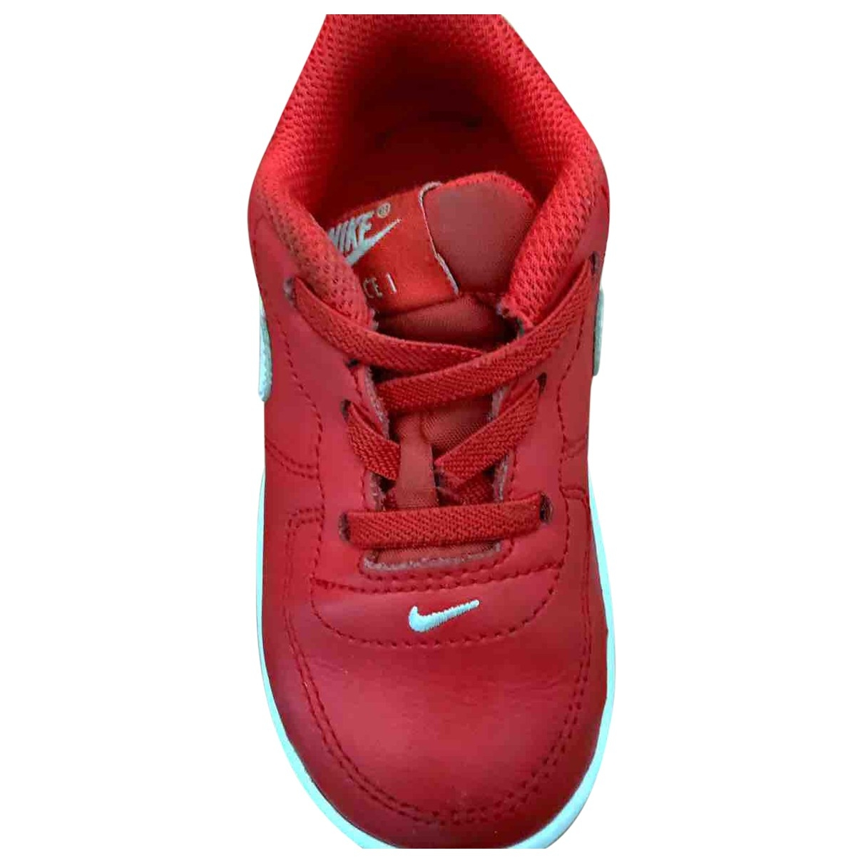 Nike Air Force 1 Red Leather Trainers for Kids 23 EU