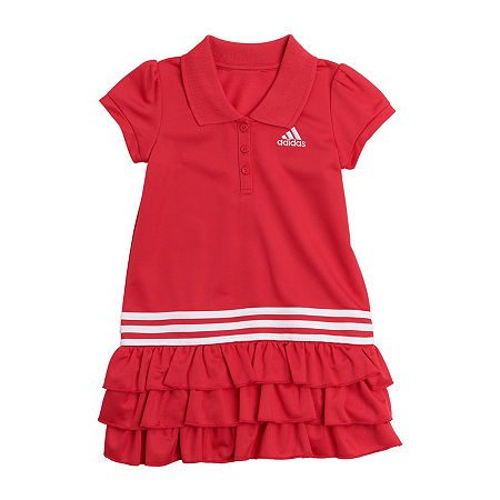 adidas Baby Girls Short Sleeve Dress Set, 12 Months , Pink