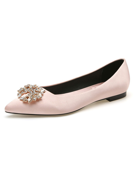 Milanoo Evening Shoes Light Apricot Satin Pointed Toe Chuncky Heel Metal Details Evening Flats Party Shoes