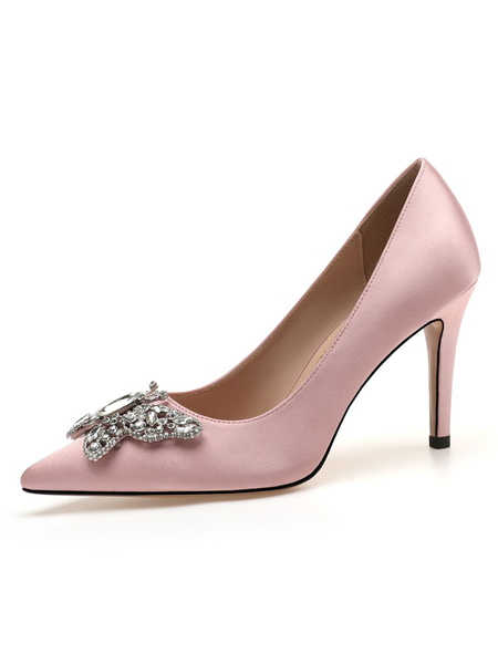 Milanoo Women's Sling back Shoes Slip-On Pointed Toe Stiletto Heel Rhinestones Luxury Low-Tops Pumps