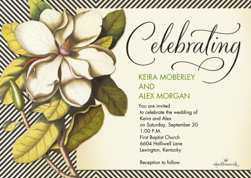 Wedding Invitations Flat Matte Photo Paper Cards with Envelopes, 5x7, Card & Stationery -Botanical and Stripe Invitation