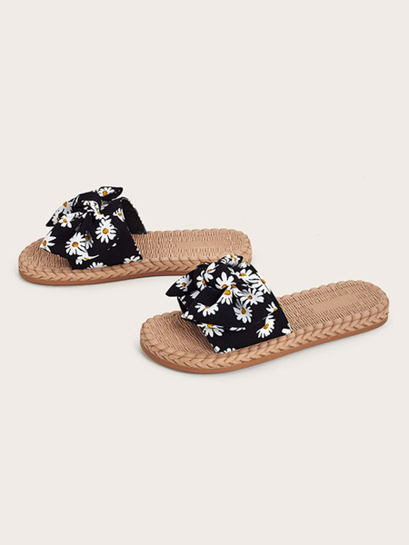 Milanoo Yellow Beach Sandals Women Open Toe Floal Printed Bow Sandal Slides