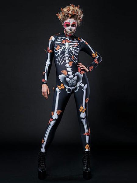 Milanoo Halloween Costume Skeleton Jumpsuit Zentai Halloween Outfit