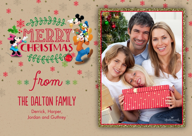 Christmas Photo Cards 5x7 Cards, Premium Cardstock 120lb with Scalloped Corners, Card & Stationery -Disney Merry Christmas