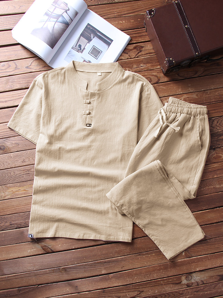 Men Linen Henley Shirts Pajamas Set Plain Breathable Drawstring Loungewear With Pockets