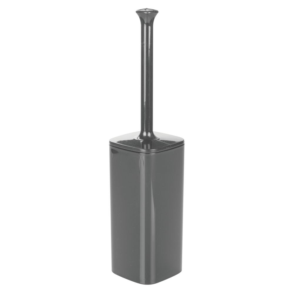 Plastic Square Compact Toilet Bowl Brush Holder in Charcoal, 3.75 x 3.75 x 16, by mDesign