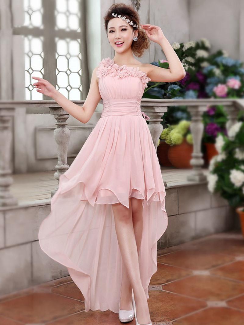 Ericdress One Shoulder Flowers Asymmetry Bridesmaid Dress