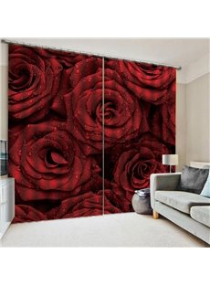 3D Fresh Rose Print Living Room Blackout Curtains Valentine's Day Decoration Backdrop Advanced HD Graphic Designs Printed Technology No Pilling No Fad
