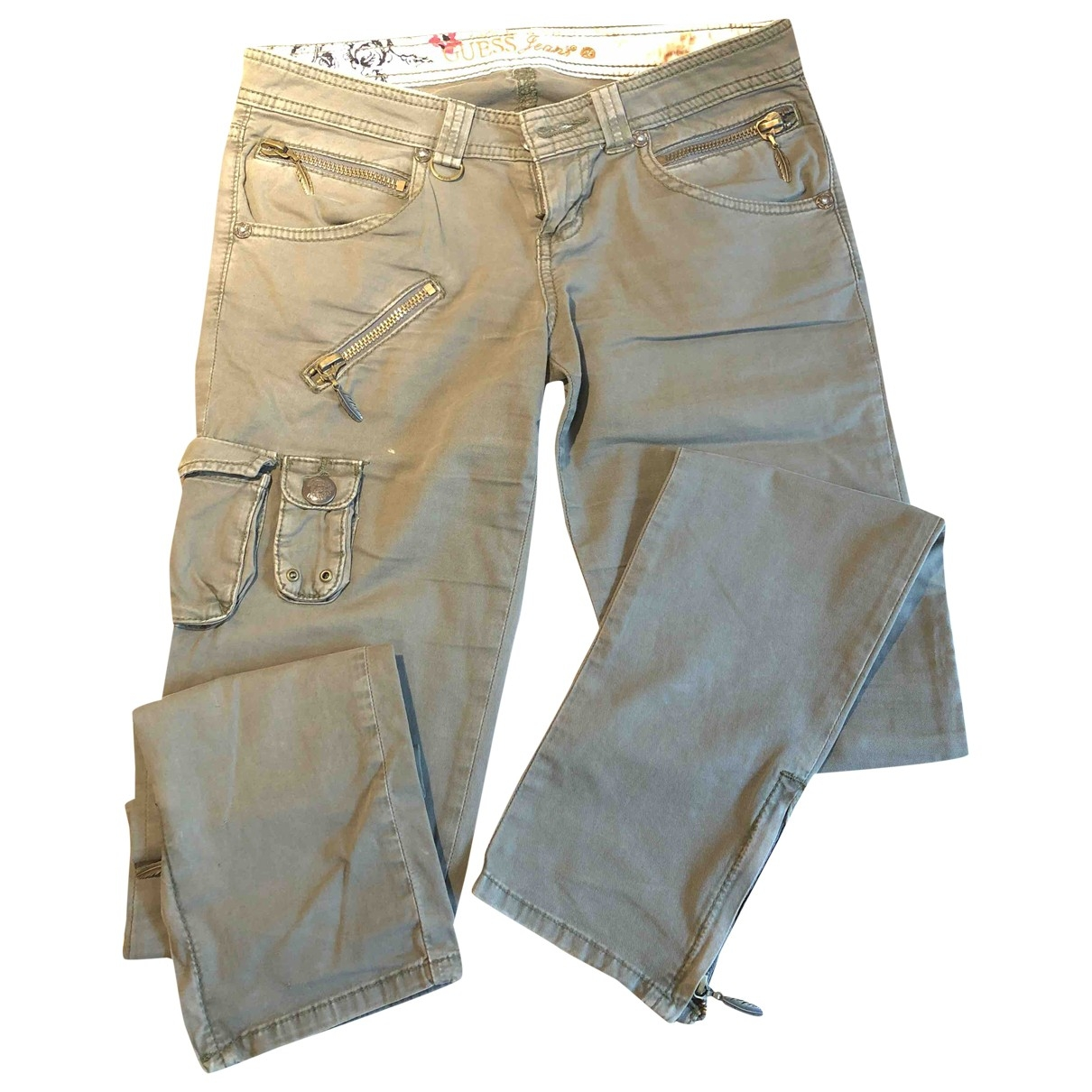 Guess \N Green Cotton Trousers for Women 40 IT