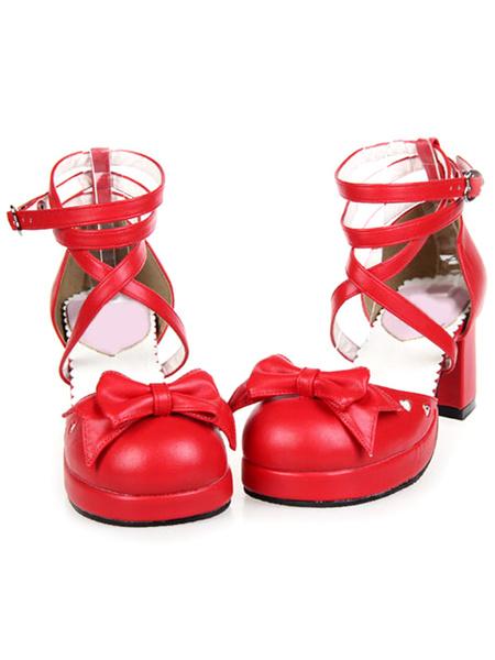 Milanoo Criss-Cross Platform PU Leather Round Toe Lolita Shoes