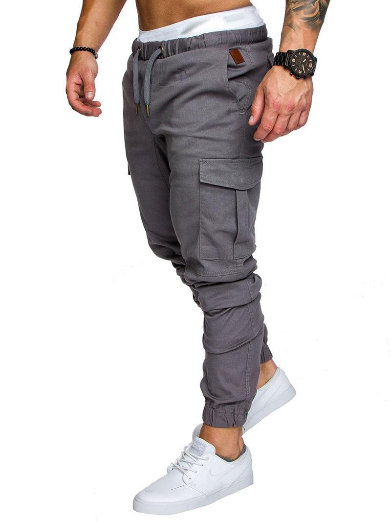 Ericdress Plain Khaki Lace Up Pocket Mens Casual Pants