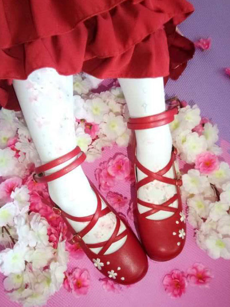 Milanoo Sweet Lolita Shoes Strappy Floral Jacquard Red Lolita Flatform Shoes