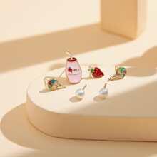 3pairs Girls Faux Pearl Stud Earrings