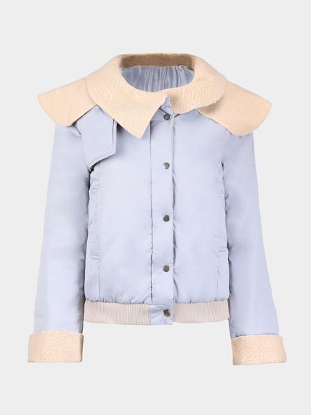 Yoins Light Blue Jacket with Oversize Collar
