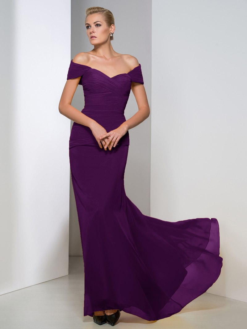 Ericdress Off-The-Shoulder Pleats Sheath Evening Dress