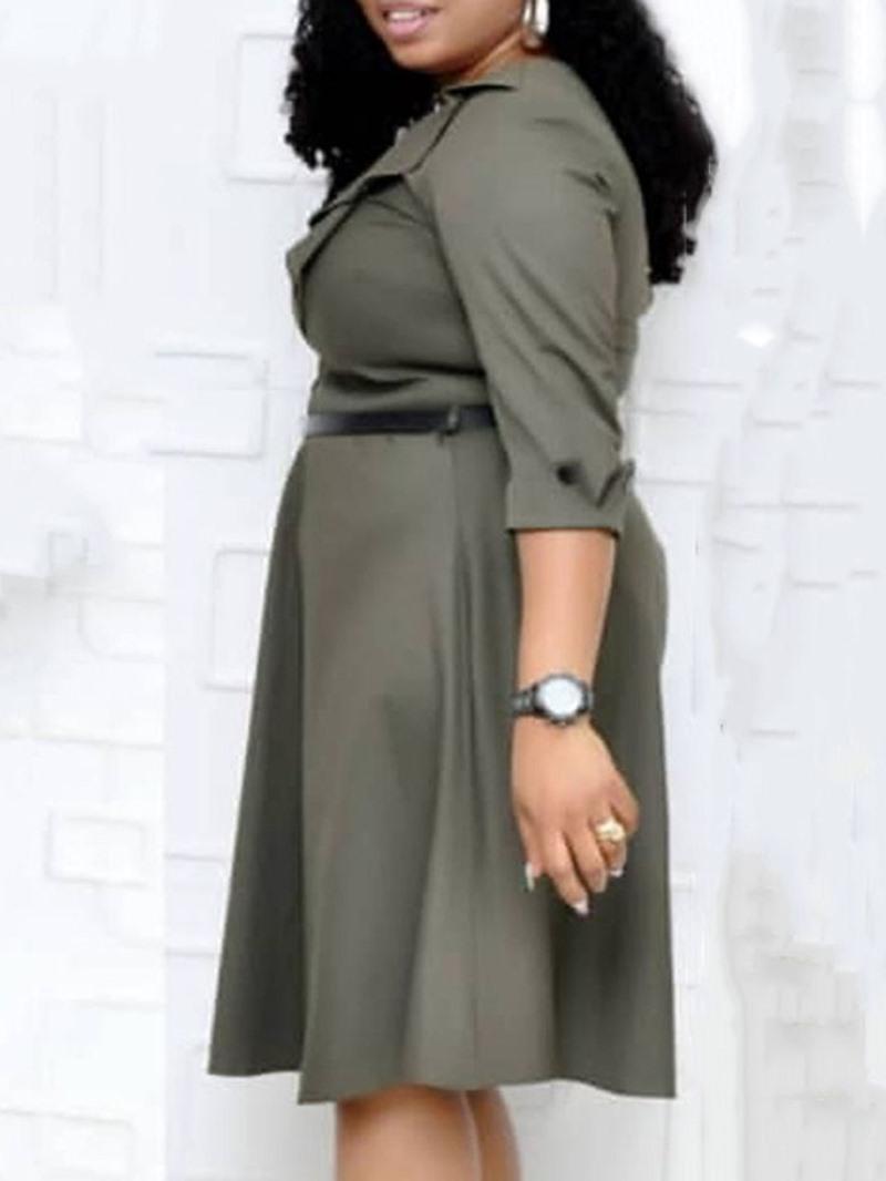 Ericdress Three-Quarter Sleeve Button Mid-Calf Mid Waist Plain Dress