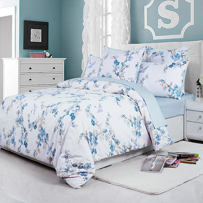 Fitted Sheet Floral Duvet Cover Set Reactive Printing Four-Piece Set Polyester Bedding Sets 2 Pillowcases