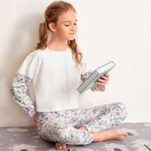 Girls Floral Print Tee and Pants PJ Set