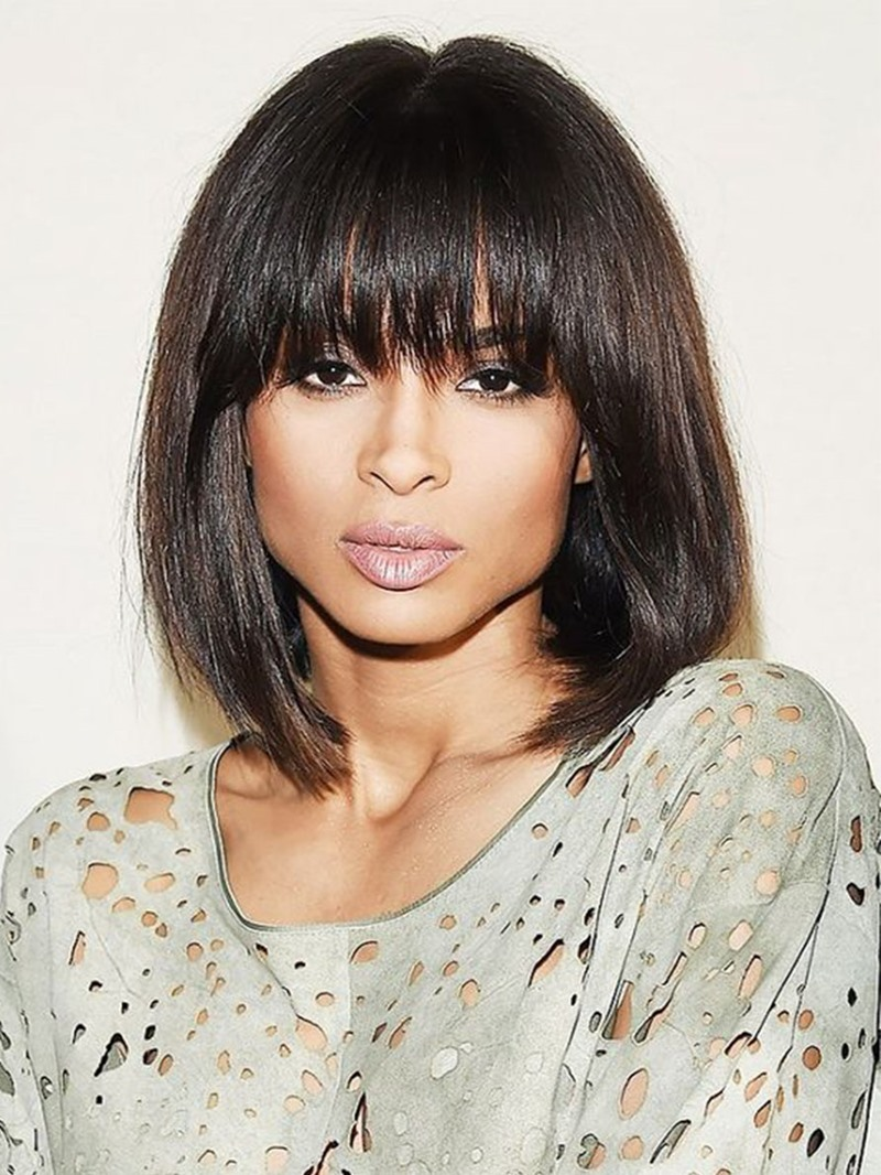 Ericdress Medium Bob Hairstyle Women's Natural Straight Human Hair Lace Front Wigs With Bangs 14Inch