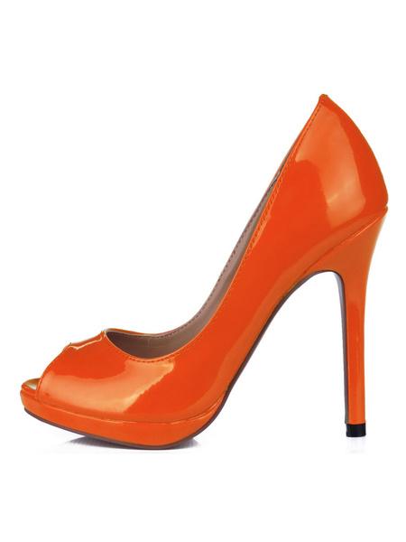 Milanoo Women's Peep Toe Patent Leather Pumps Stiletto Heel Shoes in Nude Color