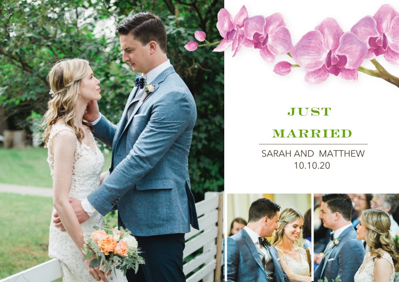 Just Married 5x7 Cards, Premium Cardstock 120lb with Elegant Corners, Card & Stationery -Wedding Just Married Orchids by Tumbalina