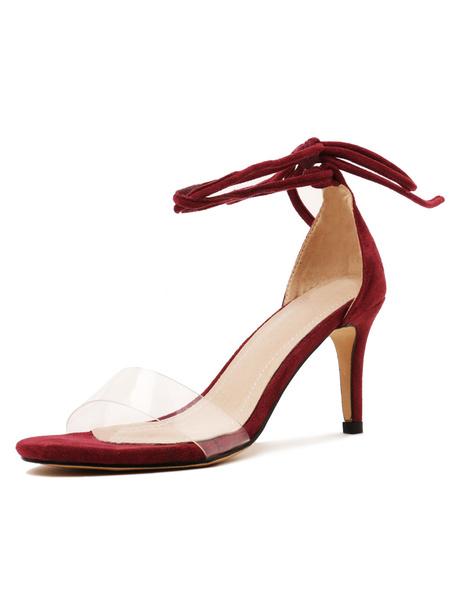 Milanoo Mid Heel Sandals Womens Open Toe Lace Up Stiletto Heel Sandals