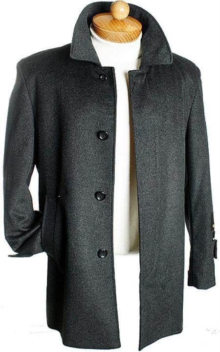 4 Button 3 Quarter Charcoal Wool Jacket Mens Cheap