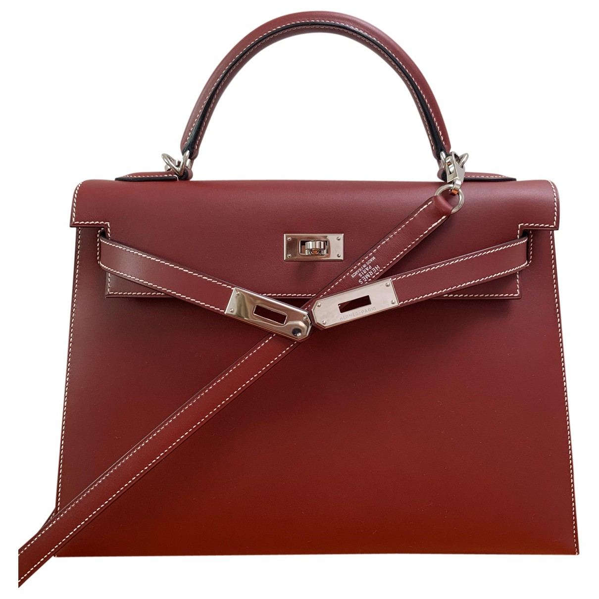 Hermès Kelly 32 Red Leather handbag for Women \N