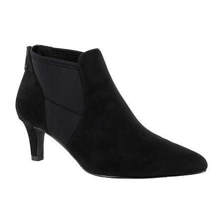 Easy Street Womens Saint Zip Pointed Toe Booties, 8 Medium, Black