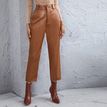PU Leather Solid Straight Leg Pants