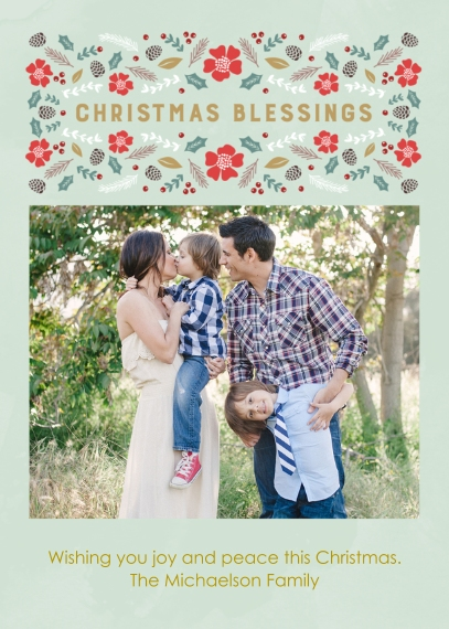 Christmas Photo Cards Flat Glossy Photo Paper Cards with Envelopes, 5x7, Card & Stationery -Christmas Blessings