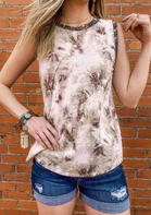 Ink Painting Splicing O-Neck Tank without Necklace - Brown