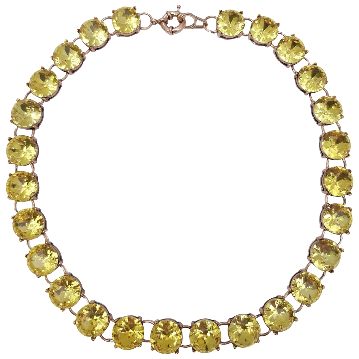 Non Signé / Unsigned Art Déco Yellow Crystal necklace for Women \N