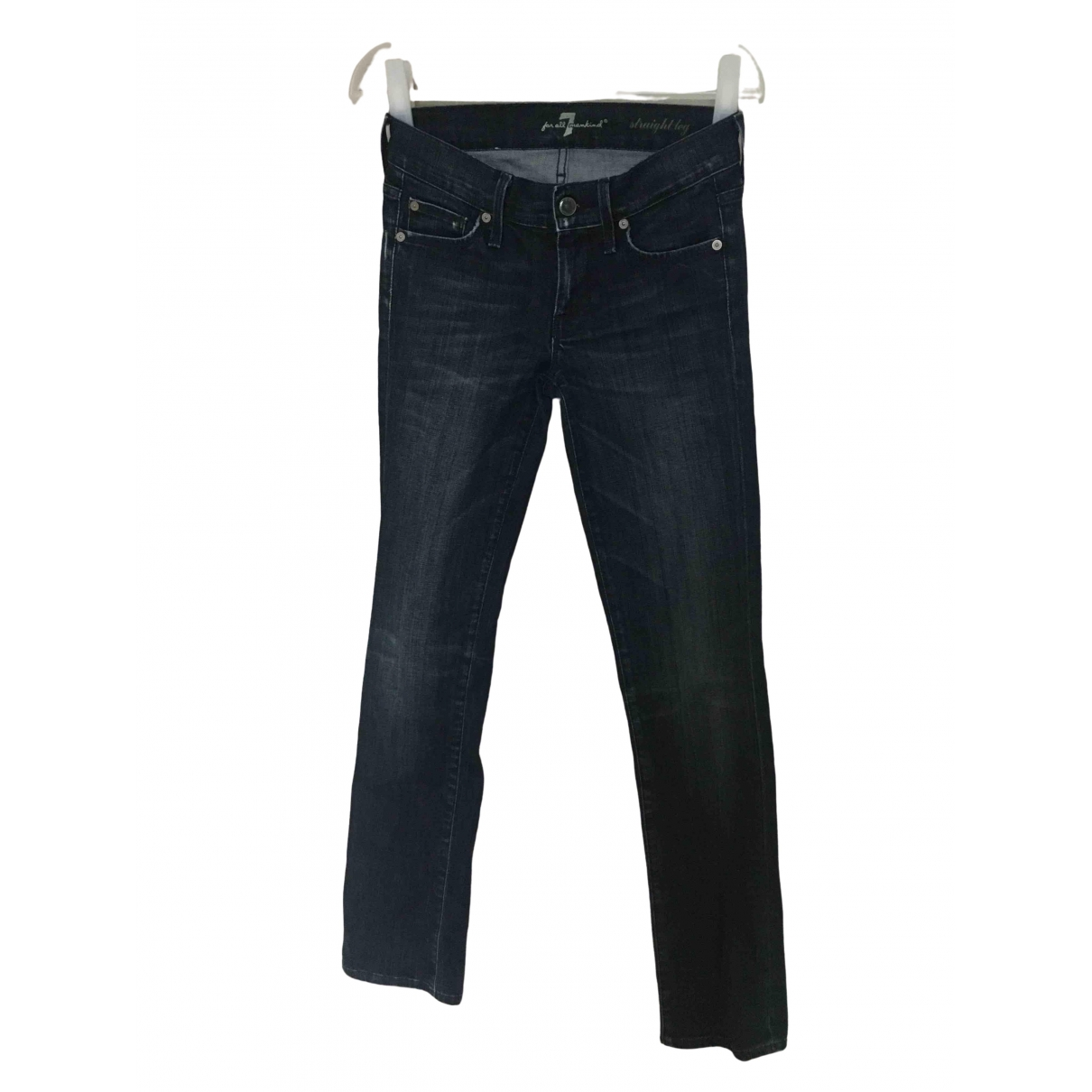 7 For All Mankind \N Blue Cotton - elasthane Jeans for Women 24 US