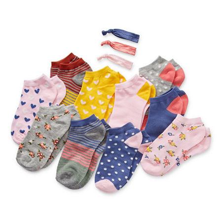 Arizona Big Girls 10 Pair Low Cut Socks, Large , Pink