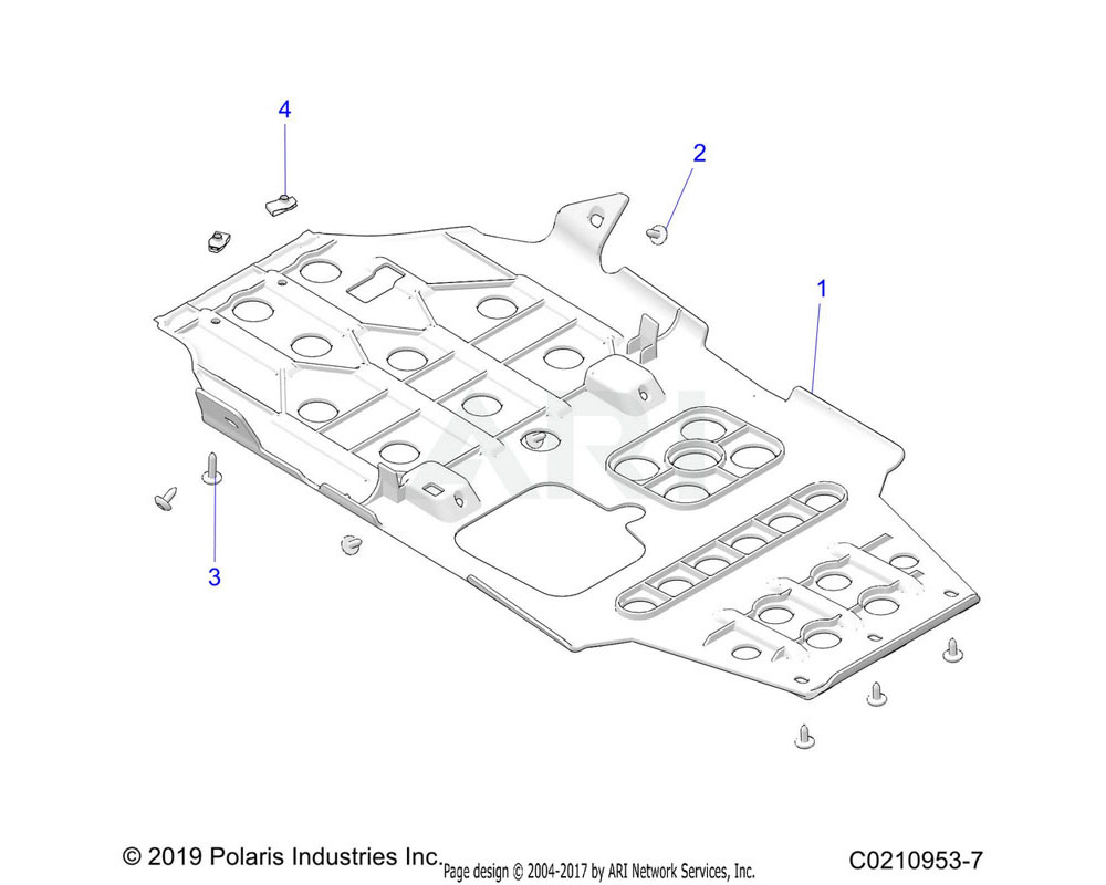 Polaris OEM 5456303-070 PLATE-SKID, MODIFIED, BLK
