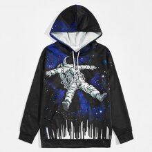 Men Galaxy And Spaceman Print Hoodie