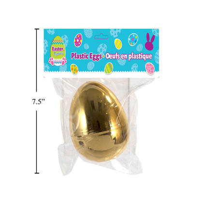 Easter Metallic Gold Plastic Egg with Round Base, 4.5