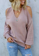 Cold Shoulder Twist Knitted Sweater - Cameo Brown