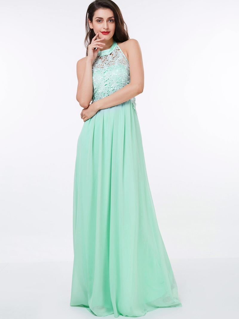 Ericdress A-Line Halter Lace Floor-Length Prom Dress